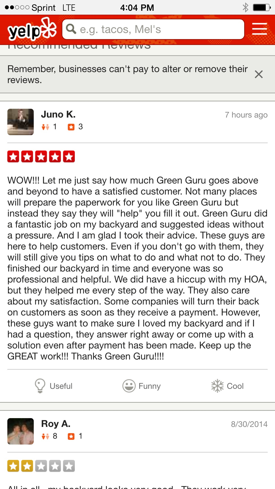 A Positive Review On Yelp Gets Buried At The Bottom