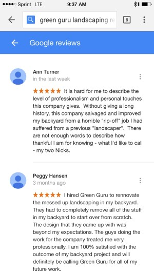 Google Reviews For Green Guru Landscaping