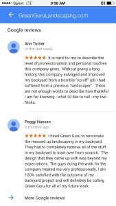 Green guru landscaping reviews from Google